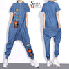 2017 Korean Style Onepiece Women Long Denim Jumpsuit Sky Blue Overall Romper Pattern Patches Loose Harem Jumpsuit Coveralls 1403