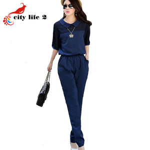11.11 Price Large Size 3XL 4XL Summer Jumpsuits 2016 One Piece Pants Lapel Elegant Salopette Blue Long Trousers Women Jumpsuits