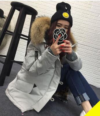 MAOMAOKONG winter jacket women basic coat 100% real raccoon fur collar pockets loose oversize Leopard long parka Military green