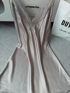 Hot sale Real Silk Nightgowns Sexy Woman Nightwear Deep V Mini Night Gowns New Night Wear Clothing