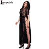 2016 New Sexy Sleepwear Lingerie Gown Long Dress Black Sheer Lace Kaftan Robe with Thong Hollow Out Night Clubwear Midi Dress  dailytechstudios- upcube