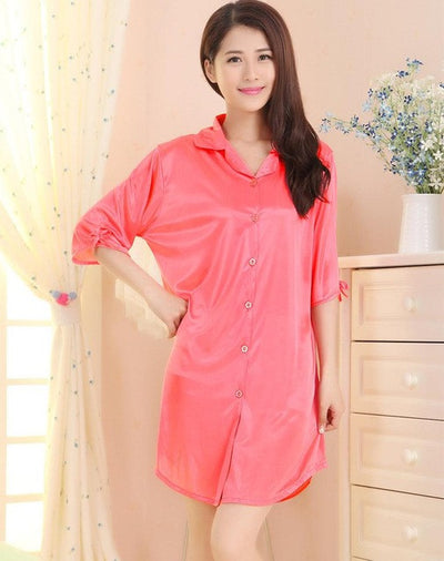 Brand New Summer Lady Silk Nightgown Women Sexy Rayon Robe Solid Color Sleepshirt Casual Nightwear Bathrobe Size S M L XL A167