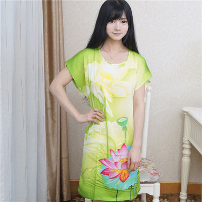 Hot Sale Blue Lady Cotton Nightgown Summer Short Sleeve Bath Robe Gown Printed Sleepwear Casual Home Dress One Size S0127-A