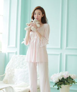 100% cotton ladies Nightdress women's pyjamas princess nightgown autumn long sleeves pants set sleepwear ladies negligee