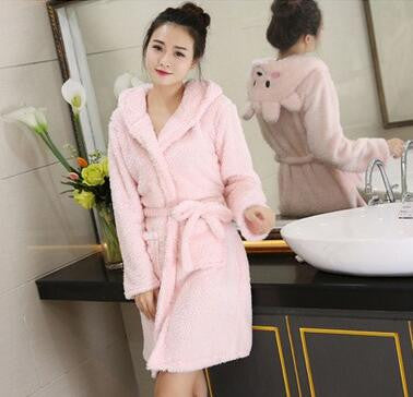 Ms. winter flannel pajamas bathrobe Nightgown cartoon lamb sweet coral fleece hooded suit Home Furnishing