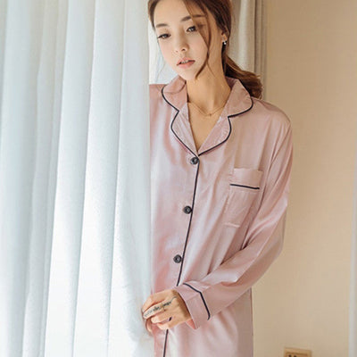Stylish christmas pajamas women nightwear set full sleeve solid color pijama feminino satin pajama 3 colors optional