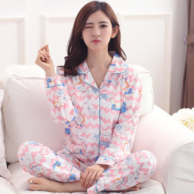 Women Sleep Pajamas Sets Spring And Autumn Cotton Turn-Down Collar Long Sleeve Young Girl Sleepwear Cardigan
