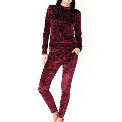 2017 Super Hot Polyester Velvet Pajamas Femme Super Soft Sleepwear Women Winter Pajama Sets Outwear Leisure Clothes 5 Colors