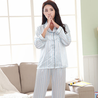 New design Striped Stitch pajamas Full sleeve M-XXL Soft Breathable Women Nightwear 2 colors optional