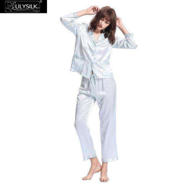 Lilysilk Sleepwear Pyjamas Women Female 100% Silk Winter 22 Momme Trimmed Buttons Turn Down Collar Soft Skin Care Home Clothing