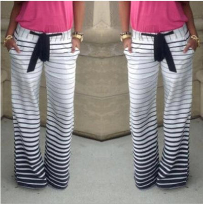 2016 Hot Sale Stripe Comfortable Casual Pants With Belt Pantalones Mujer Plus Size Women Loose Striped Pants Femme Survetement  dailytechstudios- upcube