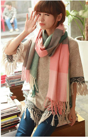 15 Color 2016 Womens Scarf Long Fashion Casual Warm Cashmere Shawl Plaid Infinity Scarf Knitted Scarf Women Winter Scarves WJ150