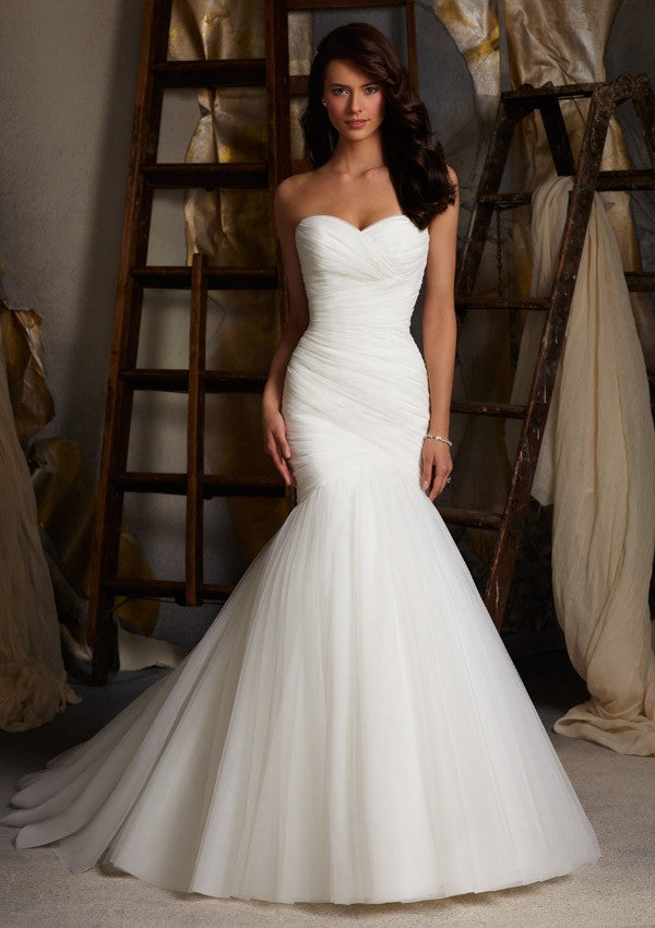 2016 Mermaid Sweetheart Court Train Satin Pleated Elegant Wedding Dresses Wedding Gown Bridal Dresses Bridal Gown