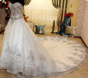 2015 New Charming Luxury Ivory Sweetheart Rhinestone Beads Organza Wedding Dresses Chapel Train Lace Up 2015 Vestidos De Novia