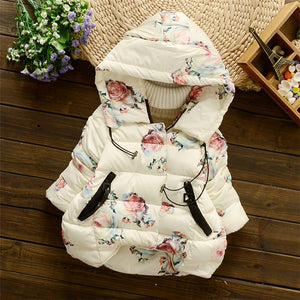 2017 Winter Baby Girls Floral Print Thick Warm Hooded Cotton Down Coats Snow Wear Children's Outerwears casaco roupas de bebe