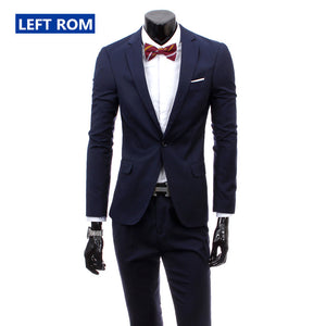 ( jacket + pants ) 2017 New men's fashion boutique pure color high-grade brand wedding dress suits blazer Slim business Men suit