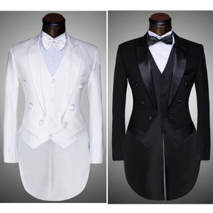 ( Jacket + Pants + Vest + Bow tie ) Fashion Men Suits Tailcoat Tuxedo Prom Groom Wedding White Black Slim Fit Male Singer