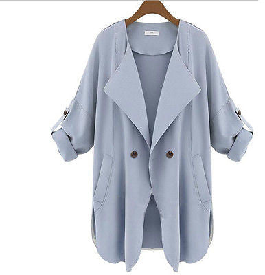 Women Spring Summer Long Trench Coat Outerwear Casual Overcoat Blazer Tops