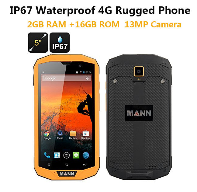 "3GB RAM 32GB ROM 4G LTE ip67 Rugged Waterproof phone cell phone MANN ZUG 5S+ Qualcomm Quad Core 5"" Android 13.0MP Dual Sim GPS  dailytechstudios- upcube"