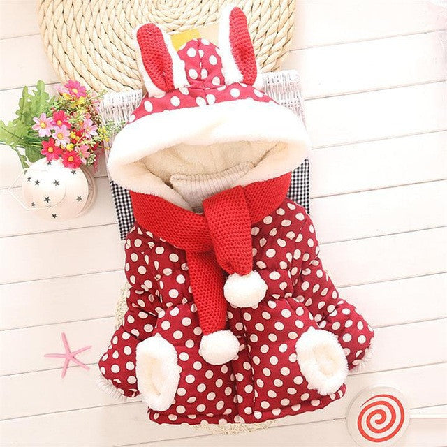 2 pcs baby Clothing and scarf baby winter outerwear thickening baby girl jackets wadded hooded trench baby cotton clothesack  dailytechstudios- upcube