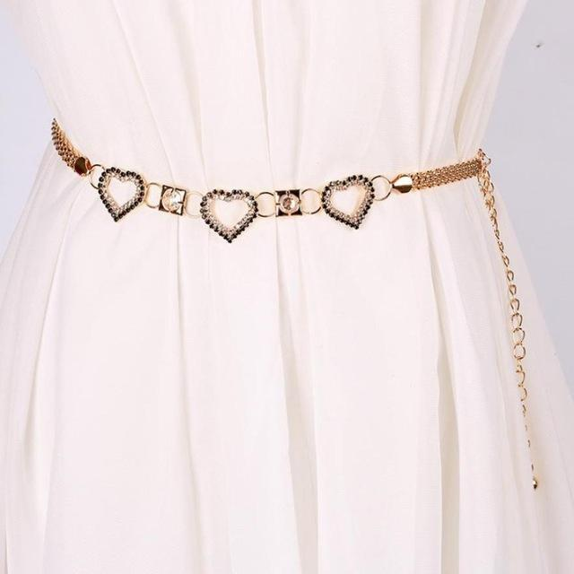 Women's Crystal Diamond Heart Belt; Available in Gold or Silver
