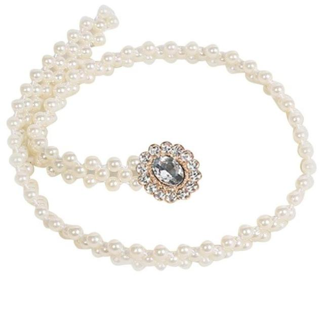 Lady's Pearl chain belt with 3 rows of pearls and Diamond Crystal accent; Available in White or Silver