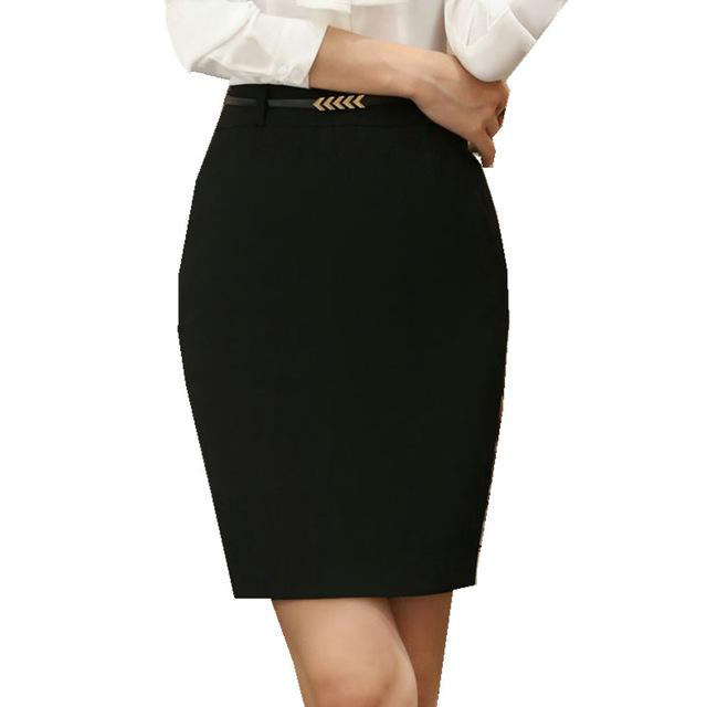Ladies Formal Skirt for Office with Above knee cut; Belt/Sash Not included; Available in Black or Heather Gray