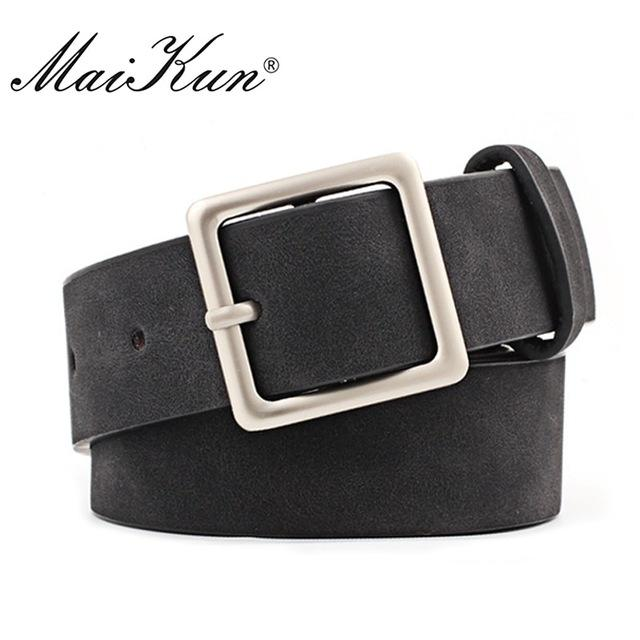 Square Buckle Belts for Women w/High Quality PU Leather strap; Available in multiple colors