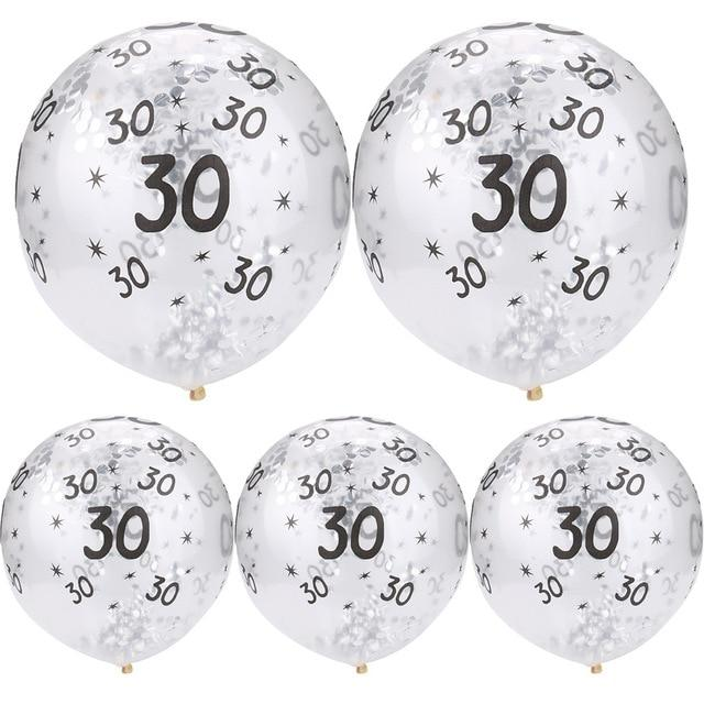 30 40 50th Happy Birthday Age Confetti Filled Balloons Wedding Party 5 pcs