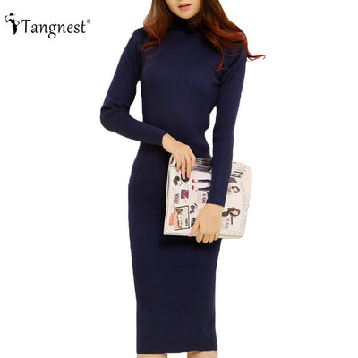 TANGNEST Fashion 2016 Women Autumn Winter Sweater Dresses Slim Turtleneck Sexy Bodycon Solid Color Robe LongKnitted Dress WZQ128