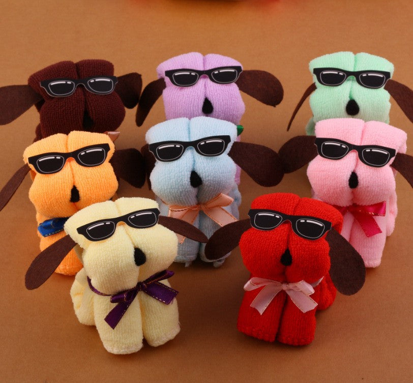 Serviette De Plage Microfiber Towel 3pcs / Lot Hot New Dog Cake Shape + Sun Glasses Towel Cotton Washcloth Wedding Gifts K531tr