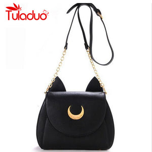 2016 New Summer Limited Sailor Moon Chain Shoulder Bag Ladies Luna Cat PU Leather Handbag Women Messenger Crossbody Small Bag