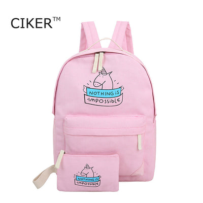 CIKER women canvas backpack fashion cute travel bags printing backpacks 2pcs/set new style laptop backpack for teenage girls  dailytechstudios- upcube