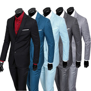 ( jacket + vest + pants ) 2015 New spring brand men's slim fit business a three-piece suits / Male good groom dress /men Blazers