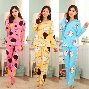 19 Colors Women Pajamas Suits Spring Autumn Cartoon Female Long-sleeve Pajama Pants Milk Silk Pajamas Suits tracksuit
