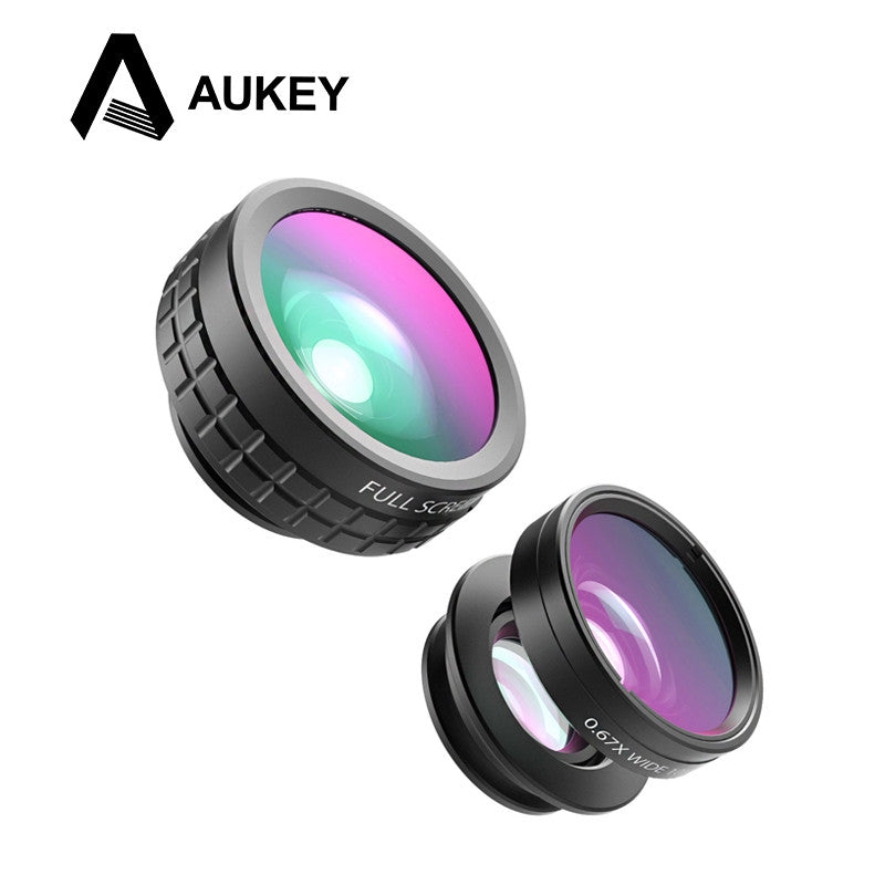 AUKEY Mini Clip-on Optic Cell Phone Camera Lens Kit 180 Degree Fisheye Lens + 110 Degree Wide Angle + 10x Macro Lens for Phones  dailytechstudios- upcube