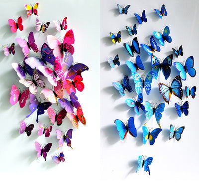 12 Pcs/Lot PVC 3D DIY Butterfly Wall Stickers Home Decor Poster for Kitchen Bathroom Fridge Adhesive to Wall Decals Decoration  dailytechstudios- upcube