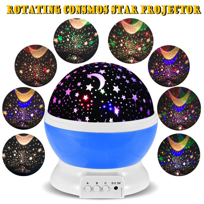 2016 New Romantic New Rotating Star Moon Sky Rotation Night Projector Light Lamp Projection with high quality Kids Bed Lamp  dailytechstudios- upcube