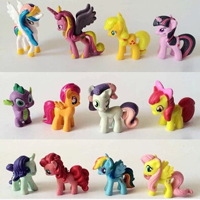 12/5-6cm/set Toy Collection pawl Cute patroled PVC Unicorn Poni Toys For Children Birthday Holiday Christmas doll Gif