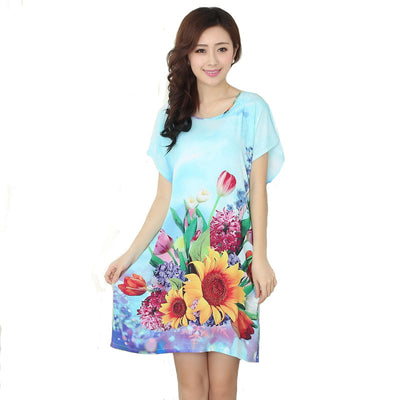 New Arrival Blue Chinese Women Cotton Nightdress Summer Short Sleeve Sleepwear Floral Home Dress Robe Gown One Size S0125