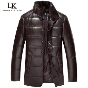 Luxury Brand  leather Down coats men Genuine Leather High quality mens sheepskin Winter coat Black/Brown 14B075