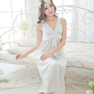 Free shipping women lace Sexy nightgown slim bride birthday gift the temptation of chiffon skirt sleepwear bra cup pad plus size