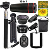 2016 New 10in1 Phone Camera Lens Kit 8x Telephoto Lens + Wide Angle + Macro Lens +Fish Eye +Selfie Stick Monopod + Mini Tripod