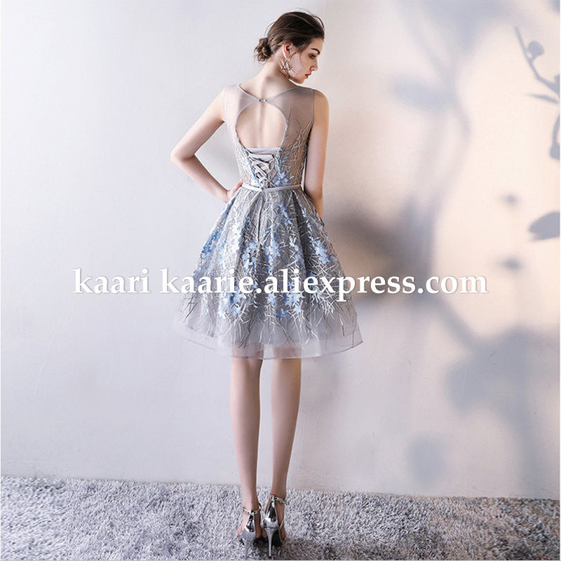 1fa61766a53 robe de soiree courte Short Prom Dress 2017 Sexy Silver Lace Prom Gowns  Tulle Robe De