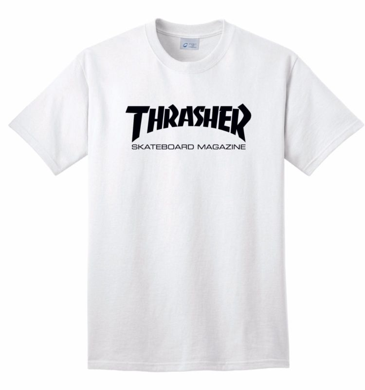 Thrasher Logo T-Shirt Tee Custom short sleeve Skateboarding Magazine Skate Gear