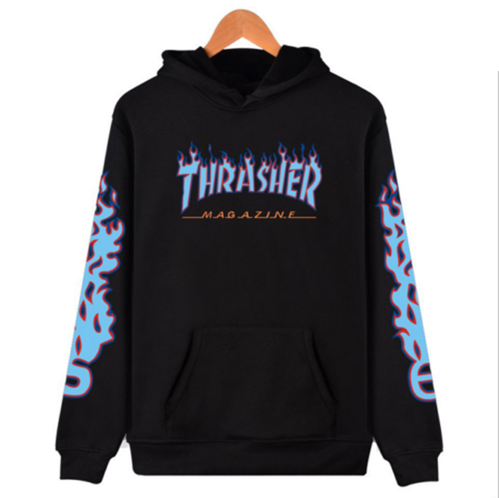 2017 New Men Women Thrasher Flame Pullover Hoodie Sweaters Skateboard Sweatshirt Thrasher firstagaintecs- upcube