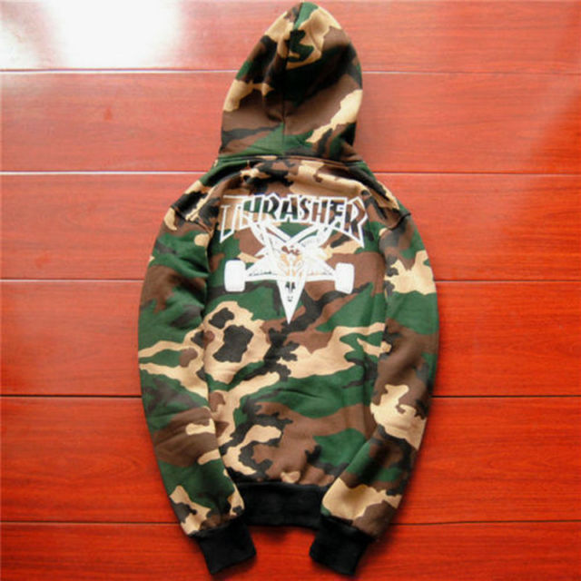 men's hoodie sweater Hip-hop skateboard Thrasher camouflage Fleece Sweatshirts