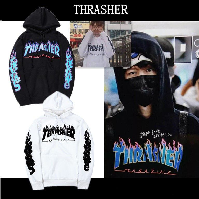 2017 Unisex Hip-hop skateboard Fleece hoodie Flame Thrasher Sweatshirts