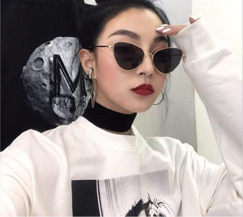 60c644965fd8c small red cat eye sunglasses women yellow black tinted Color Lens vintage  eyewear metal sun glasses