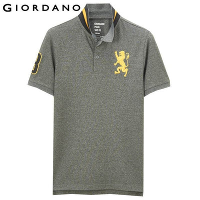 Giordano Men Polo Short Sleeves Tops Lion Embroidery Poloshirt Brand C